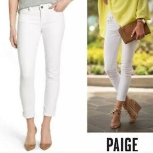 PAIGE White Denim 'Kylie' Crop with Roll Up